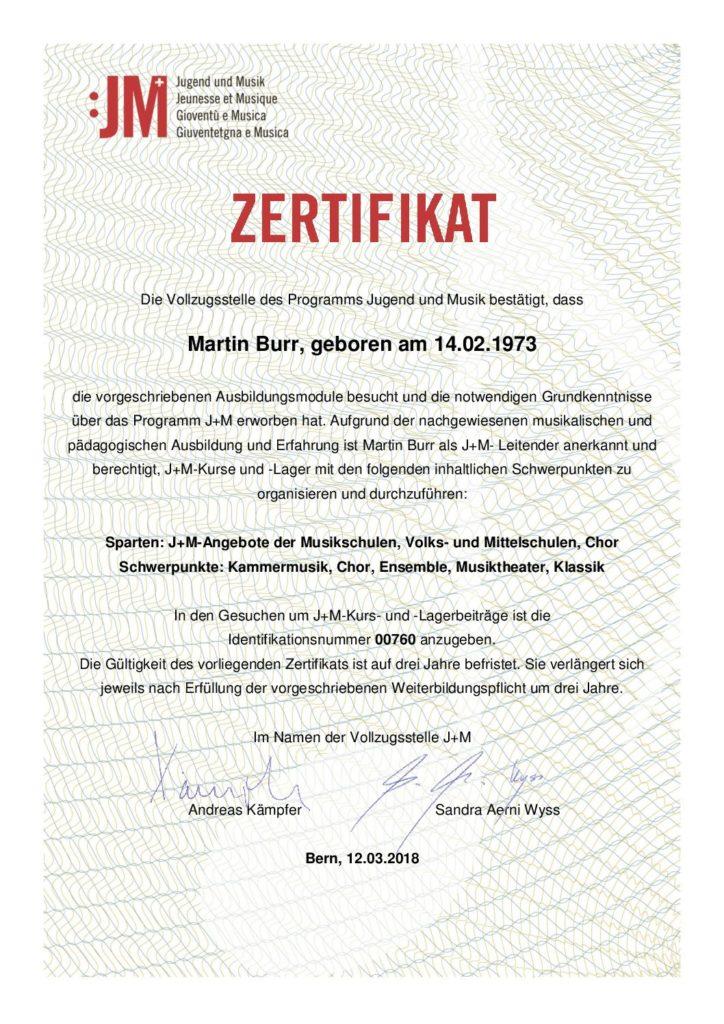 J+M-Zertifikat Martin Burr